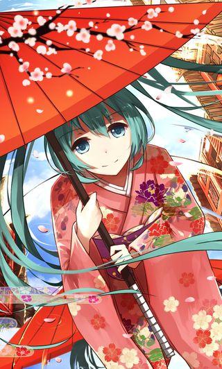 Обои на телефон сакура, японские, хацунэ, мику, манга, вокалоид, аниме, miku in kimono, kimono