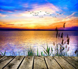 Обои на телефон озеро, солнце, красочные, закат, вода