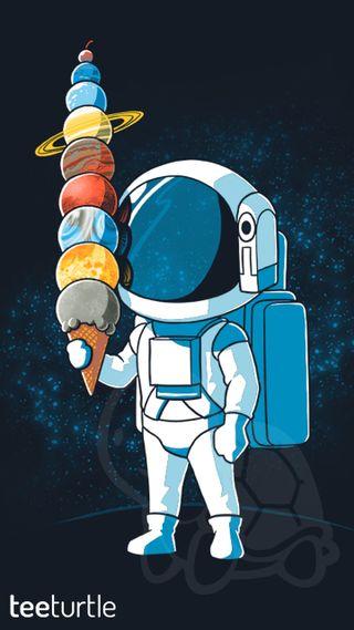 Обои на телефон планеты, мультфильмы, космос, космонавт, teeturtle