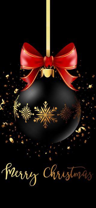 Обои на телефон праздник, черные, счастливые, счастливое, рождество, радость, приветствия, мяч, золотые, звезды, happy