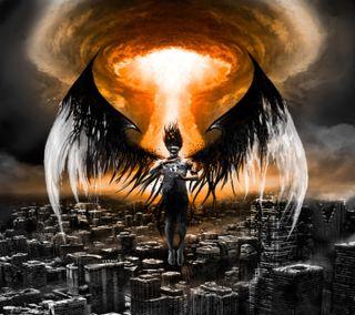 Обои на телефон фантазия, темные, смерть, принц, зло, арт, ангел, the blackened halo, halo, art, 666