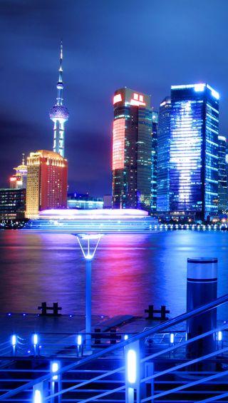 Обои на телефон китай, свет, река, ночь, город, вечер, shanghai