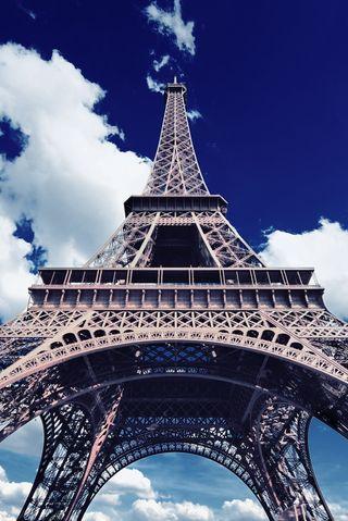 Обои на телефон высокий, париж, отпуск, облака, небо, железный, башня, eifel tower