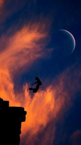 Обои на телефон летать, ночь, луна, fly to the moonlight