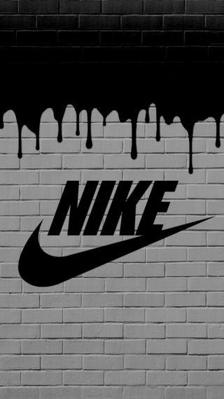 Обои на телефон граффити, черные, стена, найк, логотипы, кирпичи, бренды, белые, slime, nike