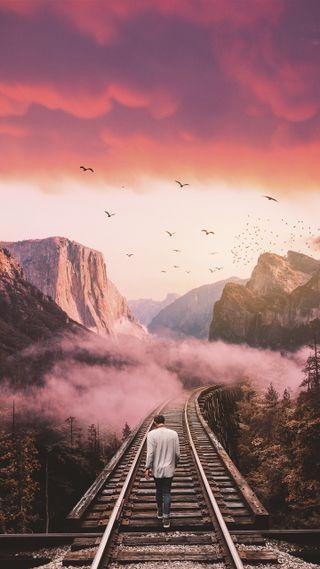Обои на телефон поезда, природа, одиночество, матовые, любовь, колея, естественные, trains, love
