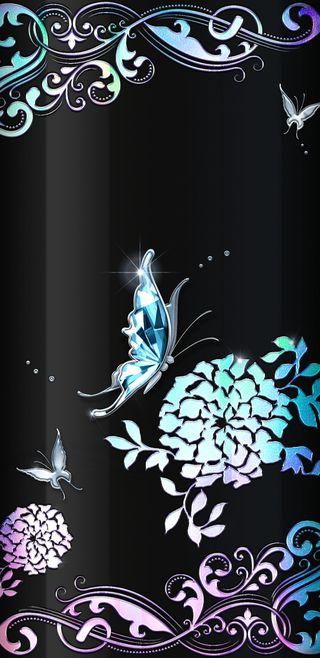 Обои на телефон духовные, цветы, фиолетовые, синие, симпатичные, сверкающие, прекрасные, драгоценность, бабочки