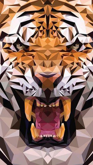 Обои на телефон треугольник, тигр