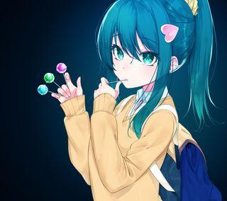 Обои на телефон конфеты, синие, девушки, аниме, girl with candy