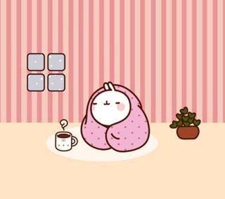 Обои на телефон чай, кролик, каваи, bunny with tea