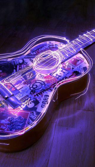 Обои на телефон гитара, фиолетовые, синие, огни, неоновые, музыка, neon lights, neon guitar