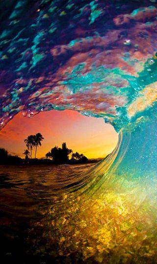 Обои на телефон цветные, тропические, пляж, океан, красочные, закат, восход, волна, wow, ocean - wave