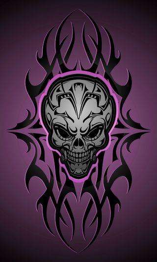 Обои на телефон голова, черные, череп, фиолетовые, абстрактные, abstract skull head