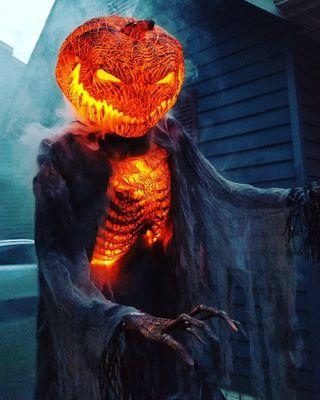 Обои на телефон тыква, хэллоуин, огонь, голова, pumpkin head