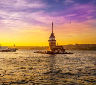Обои на телефон стамбул, турецкие, закат, восход, башня, maiden
