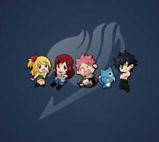 Обои на телефон хвост, счастливые, сказочные, серые, нацу, люси, команда, аниме, happy, fairy tail team, erza