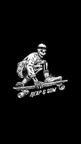 Обои на телефон скейт, черные, белые, reap and sow
