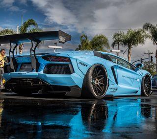 Обои на телефон авентадор, синие, машины, aventador