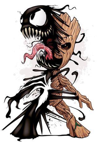 Обои на телефон грут, веном, venom grrot, combined