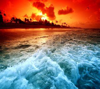 Обои на телефон светящиеся, синие, прекрасные, пляж, небо, красые, закат, волны, вода