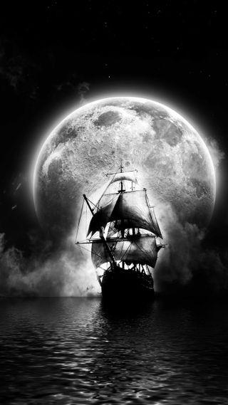 Обои на телефон полночь, парусные, корабли, луна, midnight sails