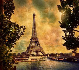 Обои на телефон эйфелева башня, река, природа, париж, винтаж, башня