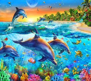 Обои на телефон подводные, тропические, рай, дельфины, dolphins paradise