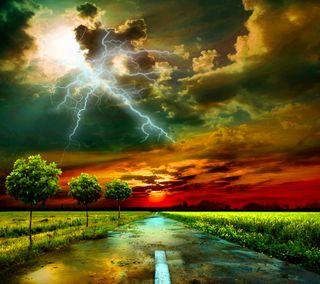 Обои на телефон природа, облака, небо, молния, дорога, дождь, гром