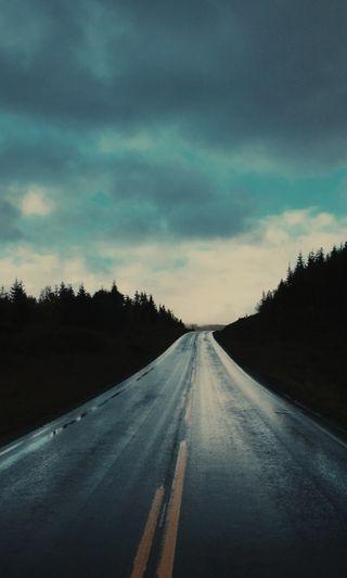 Обои на телефон хайвей, фото, улица, темные, простые, природа, облака, ночь, норвегия, небо, дорога, the road, hd