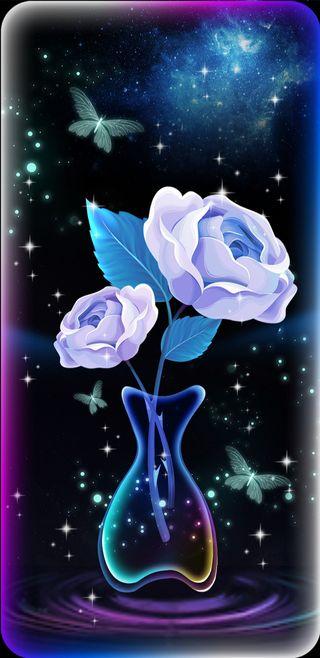 Обои на телефон симпатичные, синие, светящиеся, сверкающие, розы, прекрасные, красочные, бабочки, blueglowrose
