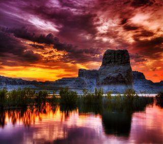 Обои на телефон озеро, облака, небо, каньон, закат, горы, canyon vista