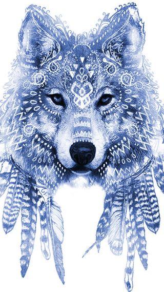 Обои на телефон перо, собаки, синие, волк