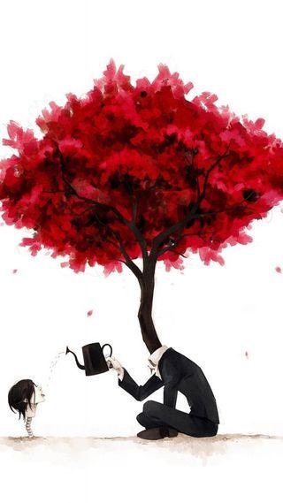 Обои на телефон человек, психоделические, голова, красые, дерево, psychedelic tree