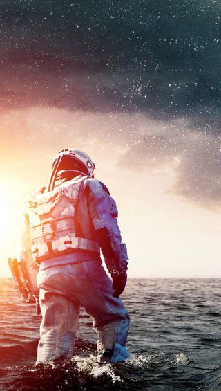 Обои на телефон космонавт, природа, вода, interstellar