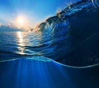 Обои на телефон волна, солнце, синие, океан, море, вода