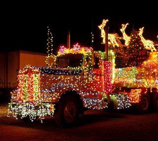 Обои на телефон грузовик, рождество, праздник, огни, christmas truck