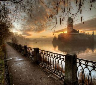 Обои на телефон река, романтика, путь, замок