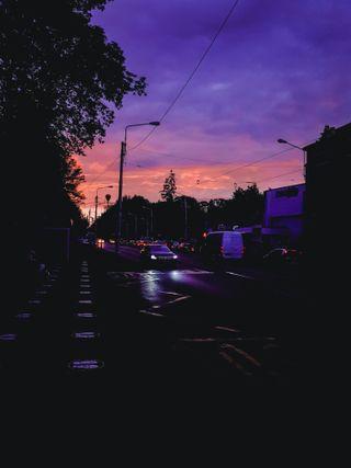 Обои на телефон румыния, эстетические, фиолетовые, прекрасные, закат, автобус, iasi