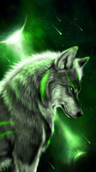 Обои на телефон фантазия, планета, зеленые, звезды, животные, волк