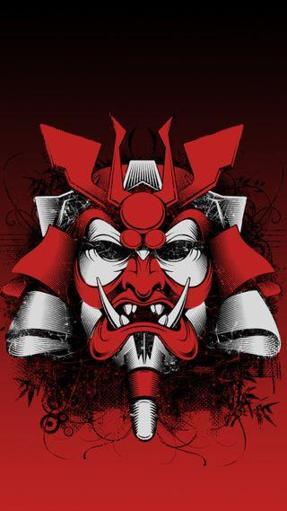 Обои на телефон японские, маска, самурай