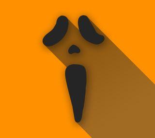 Обои на телефон плоские, хэллоуин, тень, оранжевые, материал, scream