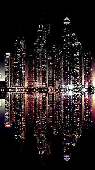 Обои на телефон огни, ночь, город