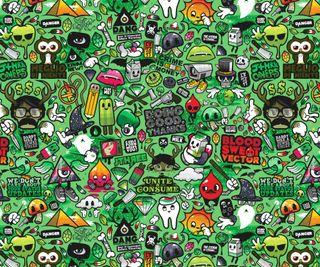 Обои на телефон ретро, красочные, зеленые, векторные, абстрактные, retrostic green