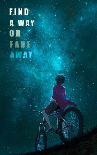 Обои на телефон мальчик, цитата, одиночество, неудача, любовь, звезды, love, bycycle