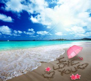 Обои на телефон амбрелла, ты, сердце, романтика, пляж, песок, море, любовь, plumeria, love, i love you