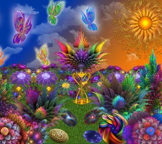 Обои на телефон фрактал, солнце, сад, растения, психоделические, поездка, psychedelic garden, psychedelia, 3д, 3d