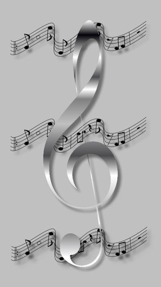 Обои на телефон серебряные, ноты, музыка, silver note