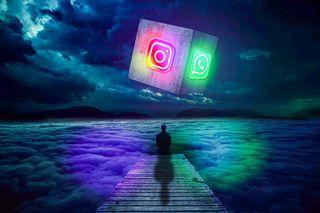 Обои на телефон темные, статус, социальное, сеть, светящиеся, облака, небо, куб, инстаграм, whatsapp, social network, man, dark sky