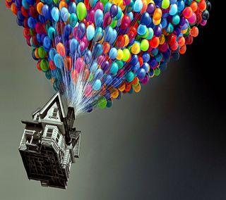 Обои на телефон дом, фильмы, небо, мультфильмы, up movie, house in the sky, 2160x1920