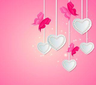 Обои на телефон сердце, розовые, любовь, жемчуг, векторные, белые, бабочки, абстрактные, love